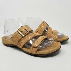 VIONIC Sandals Skylar Slide Gold Cork Buckle